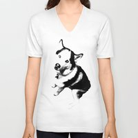 husky V-neck T-shirts featuring Husky Husky by ARTNOIS Magazine
