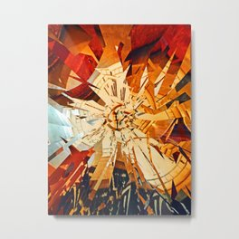 Traditional antique clock face with Roman numerals shown in conceptual  shattered abstract shape Metal Print