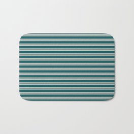 BM 2019 Trending Color Beau Green 2054-20 & COY 2019 Metropolitan Double Bold Horizontal Stripes Bath Mat