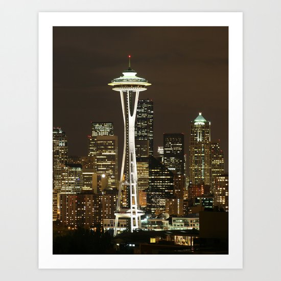 Seattle Space Needle at Night - City Lights Art Print