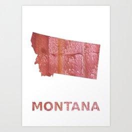 Montana map outline Crimson red nebulous wash drawing Art Print