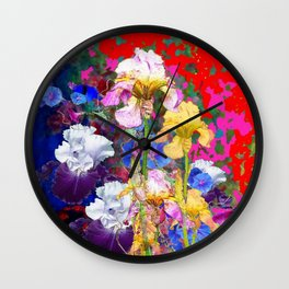 Decorative Spring  Garden Yellow & Pink Iris in Blue-Red Wall Clock