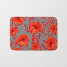 ORANGE-RED AMARYLLIS BROCADE FLORAL GREY ART Bath Mat