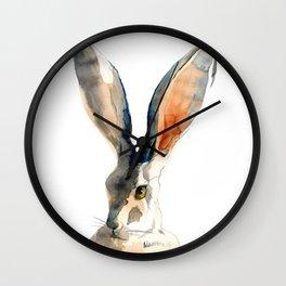 Gray Hare Watercolor Painting Wall Clock