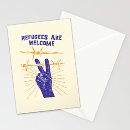 Refugees Are Welcome - No Ban No Wall Political Art print Stationery Cards