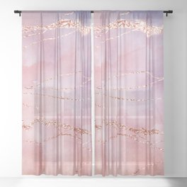 Blush and Purple Sky with Rose gold flashes Sheer Curtain