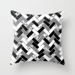 Shuffled Marble Herringbone - Black/White/Gray/Silver Throw Pillow