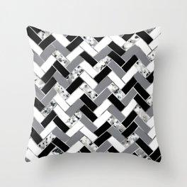 Shuffled Marble Herringbone - Black/White/Gray/Silver Throw Pillow