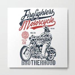 Firefighters Motorcycle Metal Print