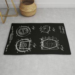 Magic Eight Ball Patent - White on Black Rug