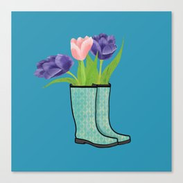 Rain Boots and Purple Tulips With Water Droplet/ Spring Decor Canvas Print