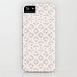 Mauve pink gray hand drawn geometrical diamond pattern iPhone Case