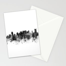 Nashville skyline in black watercolor Stationery Cards