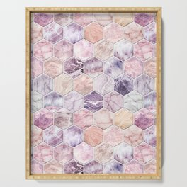 Rose Quartz and Amethyst Stone and Marble Hexagon Tiles Serving Tray