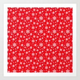 Christmas Red Snowflake Pattern Art Print