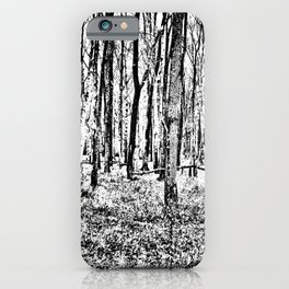 Fall in the Woods-b&w iPhone Case