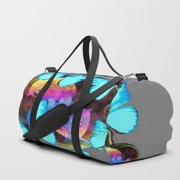 ABSTRACT NEON BLUE BUTTERFLIES & SOAP BUBBLES GREY COLOR Duffle Bag