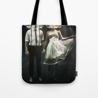 creepy Tote Bags featuring abyss of the disheartened : IV by Heather Landis