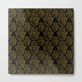 Gold Paisley Hamsa Hand pattern Metal Print