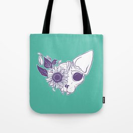Green and Purple Sunflower Sphynx Cat Skull - Floral Gothic Tote Bag