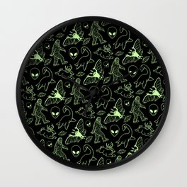 Cryptid Pattern: Green Lines Wall Clock
