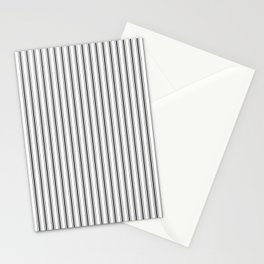 Mattress Ticking Narrow Striped Pattern in Dark Black and White Stationery Cards