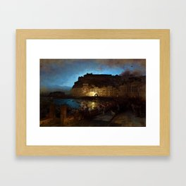 Fireworks in Naples by Oswald Achenbach Framed Art Print