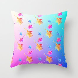 Under The Sea Turtles Throw Pillow