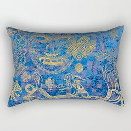 Mexican gold on blue Rectangular Pillow