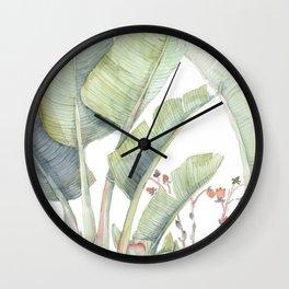 Strelitzia and Succulent Friends Wall Clock