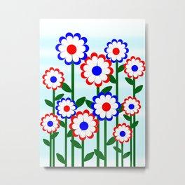 Retro Summer Flowers Metal Print