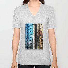 Reflections of Copley Square Buildings, Boston Unisex V-Neck