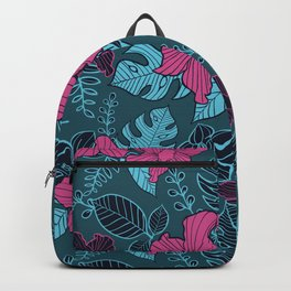 Modern Bold Jungle Floral Pattern Memphis Style Backpack