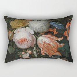 Abraham Mignon - A hanging bouquet of flowers Rectangular Pillow