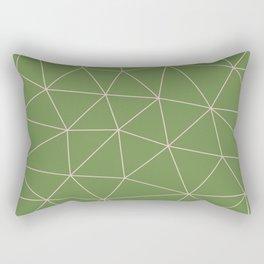 Green Background Triangular Pink Lines Rectangular Pillow