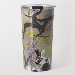 Two Rabbits Under Wisteria Tree Travel Mug