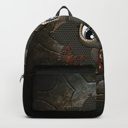 Cute little steampunk owl with floral elements Backpack