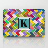monogram iPad Cases featuring K Monogram by mailboxdisco