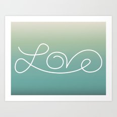 Love calligraphy print - Lakeview gradient with white print Art Print