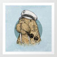 walrus Art Prints featuring WALRUS by Thiago Bianchini