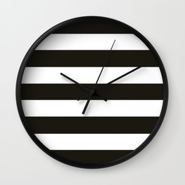 Black chocolate -  solid color - white stripes pattern Wall Clock