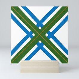 Saltire in Green, Blue, & Gold Mini Art Print