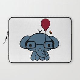 cute elephant with glasses holding a balloon Laptop Sleeve