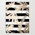 Simply Tropical Palm Leaves on Stripes by followmeinstead
