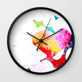 heart shape pattern with red pink blue yellow orange painting abstract background Wall Clock