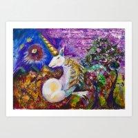 unicorn Art Prints featuring Unicorn by CrismanArt