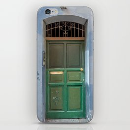 Wood green door in a medieval town iPhone Skin