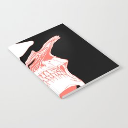Liquify Skull in black and living coral Notebook