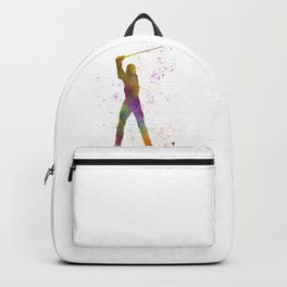 Man practicing golf in watercolor 04 Backpack