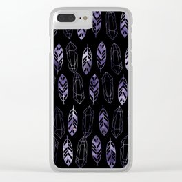 Purple Feathers and Gems on Black Pattern Clear iPhone Case